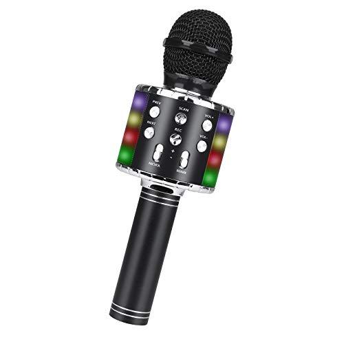 Micrófono Karaoke, Guiseapue Microfono Inalámbrico Karaoke Portátil con Luces LED,