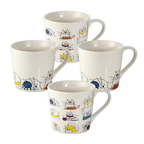 4er Set große Tassen Kaffeebecher Kaffeetassen Teetassen Mugs Porzellan, 426ml weiß Katze Design mit lustiges Katzenmotiv, Geschenk für Katzenliebhaber Katzenfans und Katzenfreunde