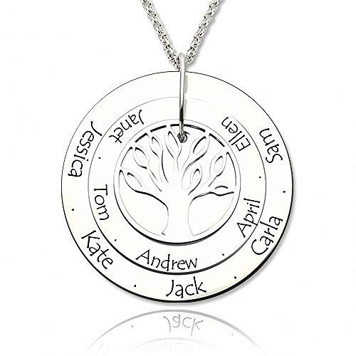 Personalisierte Namenskette Familie Baum des Lebens mit Gravur 1 bis 10 Namen in 925 Sterling Silber Gold Rosegold—Namenskette Damen Rund Anhänger Muttertagsgeschenk
