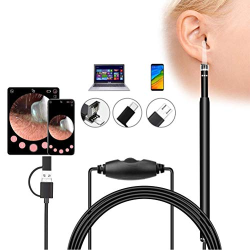 Endoscopio USB per lorecchio, 3 in 1 USB Ear Cleaning Endoscope Visual Earpick con HD Camera Otoscopio Cleaner, 5,3 mm di diametro Visual Ear Camera con strumento per la pulizia del cerume e 6 luci