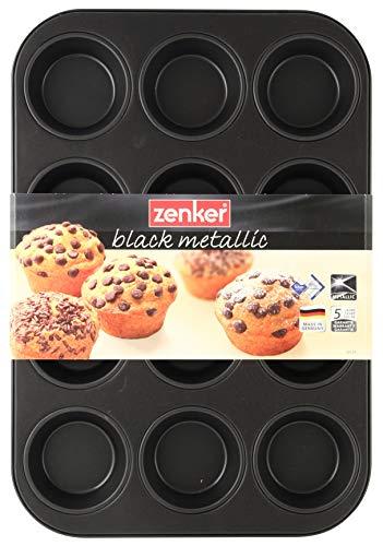 Zenker 12-delige muffinvorm Ø 7 cm BLACK METALLIC, muffinbakvorm van plaatstaal, bakplaat met anti-aanbaklaag (kleur: zwart metallic), hoeveelheid: 1 stuk