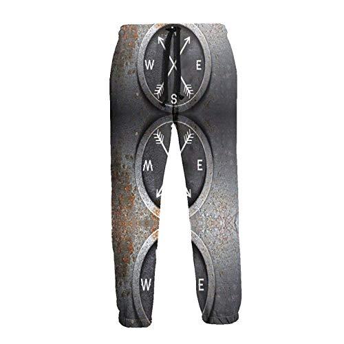 DAWN&ROSE Simple Brújula Vintage Patrón de los Hombres Pantalones de chándal Pantalones Pantalones Correr Pantalones de Deportes Bolsillos Pantalones de Salón