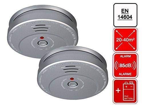 2er Set Elro RM144A Rauchwarnmelder, Aluminiumoptik, EN14604 konform, RM144A-2