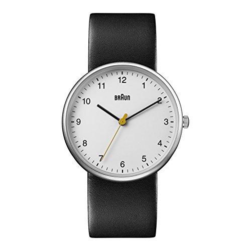Braun BN0231WHBKGAL - Reloj análogico de cuarzo con correa de cuero para hombre, color negro/blanco