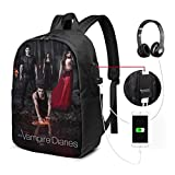 The Vampire Diaries USB Backpack Unisex Laptop Bags Bookbag For School Office Travel 17 Inches
