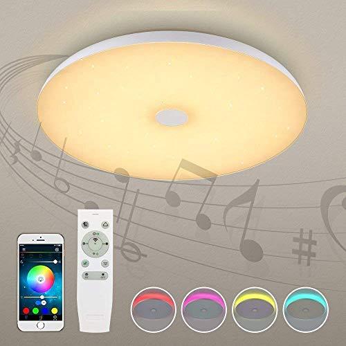 Acryl LED Starlight plafondlampen met Bluetooth Speaker Smartphone APP, Dimbaar, Muziek RGB Kleur Temperatuur Verstelbare Ronde Flush Mount Light Fixture
