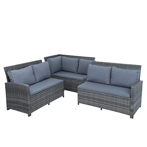 ESTEXO Polyrattan Lounge Set in luxuriöser Optik bestehend aus 1 Couch, 3 Hockern und 1 Tisch, inklusive Sitzpolster, grau - 3