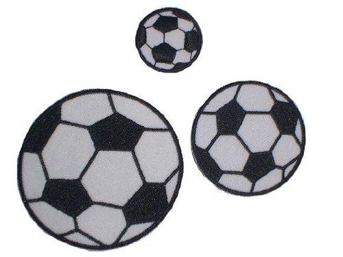 alles-meine.de GmbH 3-er Set Fußball Bügelbild Aufnäher Applikation Fussball Ball Tor Bälle Emblem - Fußballer Fußballspiel / Verein