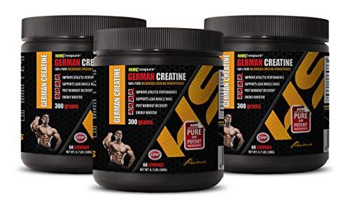 Muscle Mass Pills for Men Best Seller - German CREATINE Powder - 100% Pure MICRONIZED CREATINE MONOHYDRATE - Creatine monohydrate Post Workout - 3 Cans 900 Grams (180 Servings)