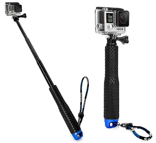 MyGadget Action Kamera Teleskopstange Selfie Stick (wasserdicht) - Zubehör Stange mit Handgriff geeignet für GoPro Hero Black 7/8 6 5 4 3+ 3, Xiaomi Yi 4K - Blau