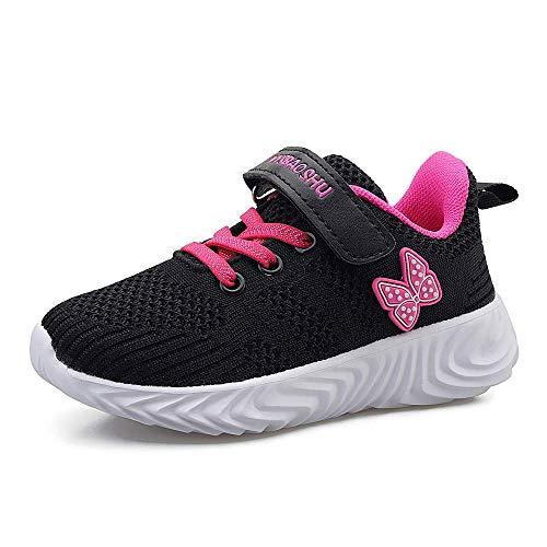 Youecci Kinder Schuhe Sportschuhe Ultraleicht Atmungsaktiv Turnschuhe Klettverschluss Low-Top Sneakers Laufen Schuhe Laufschuhe für Mädchen Jungen 3 Schwarz 30 EU