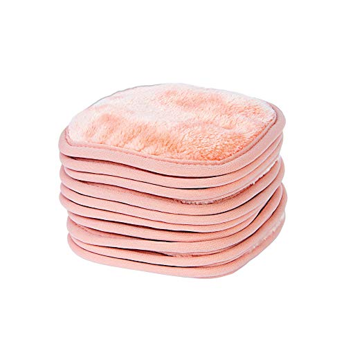 Eurow Makeup Removal Cleaning Cloth, 5 by 5 Inches, Coral, Pack of 10