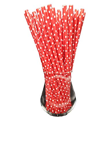 Sam for You - Cannucce di carta biologiche per alimenti, ecologiche, usa e getta, confezione da 120 (rosso con pois bianchi)