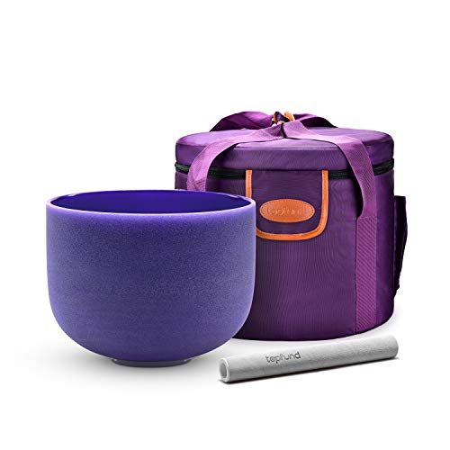 TOPFUND Violet A# Note Crystal Singing Bowl Pineal Chakra 8 inch, Heavy Duty Carrying Case and Suede Striker included