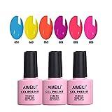 AIMEILI UV LED Sommer Neon Gellack mehrfarbig ablösbarer Gel Nagellack Gel Polish Set Kit - 6 x 10ml - Kit Nummer 11