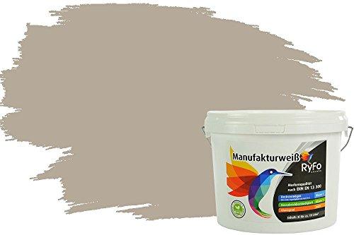 RyFo Colors Bunte Wandfarbe Manufakturweiß Kieselgrau 3l - weitere Grau Farbtöne und Größen erhältlich, Deckkraft Klasse 1, Nassabrieb Klasse 1