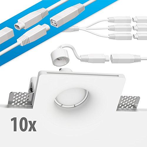 ledscom.de Gips Einbaustrahler GIDS DIY inkl. GU10 Lampe 340lm warm-weiß 10er Set