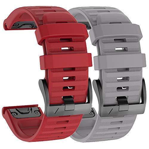 Isabake Watch Band for Garmin Fenix 6X/6X Pro, QuickFit 26mm Band Compatible with Fenix 6X/6X Pro Fenix 5X/5X Plus Fenix 3/3 HR (Grey/Red)
