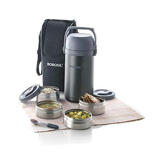 Borosil - Hot-N-Fresh Stainless Steel Insulated Lunch Box, Set of 4 (2pcs 350 ml + 2pcs 420 ml), Grey
