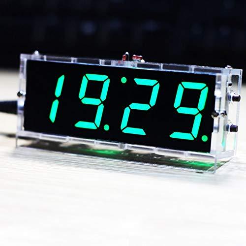 Tonysa 4-stellige DIY Digital LED Uhr Kit,Idealer Digitaluhr Bausatz,DIY Elektronische Uhr Set für Elektronikliebhaber,Kompatibel mit Alarmfunktion/Timerfunktion/automatischer Anzeige(Grün)