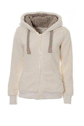Ladies Womens Soft Teddy Fleece Hooded Jumper Hoody Jacket Coat Cream Taupe CDK008 G XL