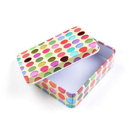 Rectángulo Moderno Mini Caja de Lata Cute Vintage Small Dot Pattern Metal Candy Storage Boxs Button Container