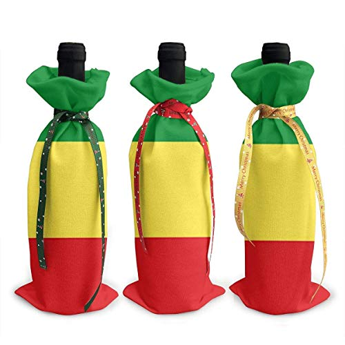 3pcs Rasta Flag Lion Head Wine Bottle Cover Bag Tableware for Decoration