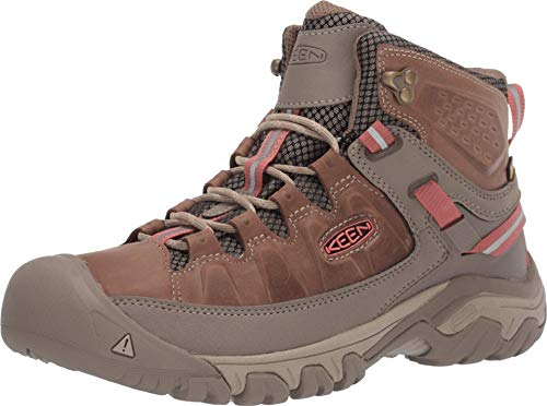 KEEN Women's Targhee 3 Mid Waterproof Hiking Boot, Safari/Coral, 10.5 M (Medium) US