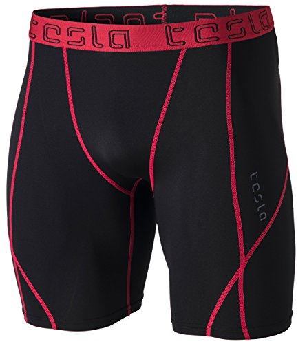 TSLA Men's Athletic Compression Shorts, Sports Performance Active Cool Dry Running Tights, Athletic Shorts Black & Red, Medium