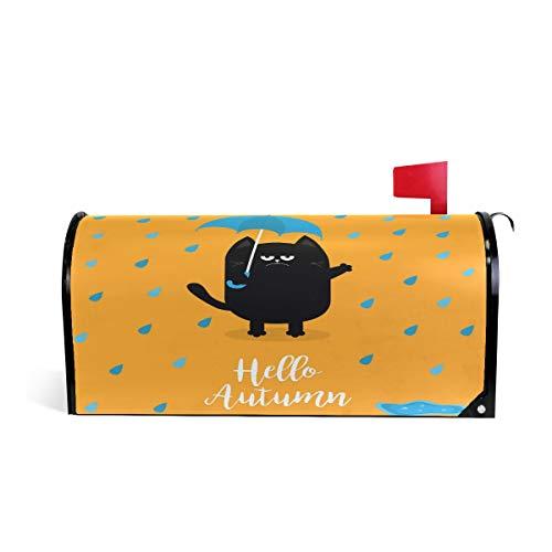Hello Automne Chat Noir Bienvenue magnétique Boîte aux lettres Boîte aux lettres Coque stratifiées, chaton Parapluie pluie Taille standard Makover Mailwrap Garden Home Decor 52.6x45.8cm multicolore