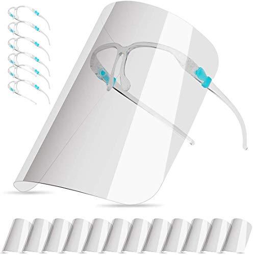 HuSang Wiederverwendbare Anti-Beschlag-Gesichtsschutzscheiben mit Brillenrahmen für Männer und Frauen, zum Schutz von Augen und Gesicht, 6 Brillen und 12 Schilde (transparent)