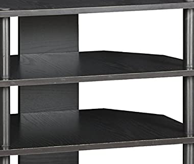 Furinno Turn-N-Tube Easy Assembly 4-Tier Petite TV Stand 15093BW/BK, Blackwood