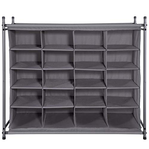 STORAGE MANIAC 20-Cube Stackable Shoe Cubby Organizer Free Standing Shoe Cube Rack for Entryway Bedroom Apartment Closet Gray