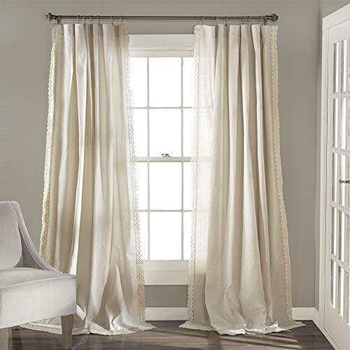 "Lush Decor Rosalie Window Curtains Farmhouse, Rustic Style Panel Set for Living, Dining Room, Bedroom (Pair), 84"" x 54"", Ivory"