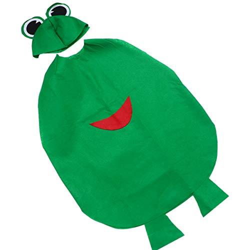 PRETYZOOM Disfraz de Rana para Niños Novedad Animal Ropa de Fiesta Infantil Conjunto de Vestido de Bricolaje con Sombrero para Halloween Fiesta de Disfraces Juego de rol Cosplay (Verde)