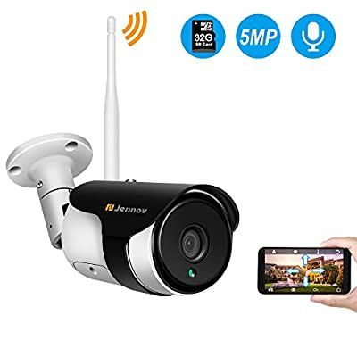 5MP Wireless Security Camera Outdoor,Jennov WiFi IP Surveillance Cameras with Two Way Audio IP66 Waterproof,Night Vision,Motion Detection,Pre-Installed 32G MicroSD Card