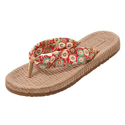 Dames Boheemse Platte Flip Flops Slippers - Dames Mode Bloemen Print Casual Binnen/buiten Comfy Sandalen
