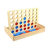 TOYMYTOY 4 gewinnt Pädagogisches Spielzeug Vier in einer Reihe aus Holz Strategiespiele