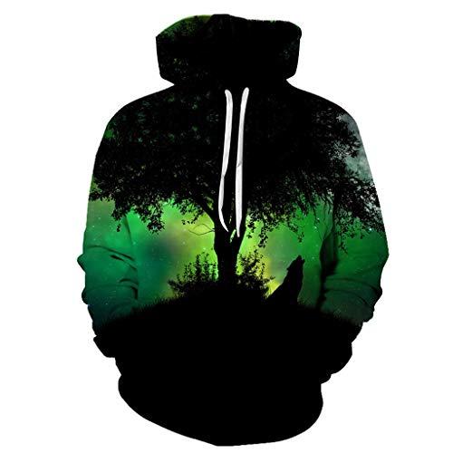 ODRD 3D Ein magischer grüner Wald Printed Sweatshirts Herren Hoodie Weihnachtspullover - Unisex Dizziness Ugly Sweatshirt Sweater - Hässliche Pulli Lustig Weihnachtspulli Weihnachtsparty M-4XL