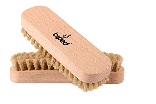 biped Set di 2 pezzi – Spazzola per scarpe in legno di faggio con setole naturali – per la pulizia o per la lucidatura z2345 (2 x luminosi)
