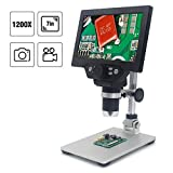 LQKYWNA HD 7 Zoll LCD Display 1080P 1200X winkelverstellbares USB-Digital Mikroskop Mit Batterie für die Reparatur von Handykameras Chemische Physik Biologisches Labor QC Inspektion