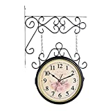 P Prettyia Moderno Reloj de Pared de Doble Cara Hierro Metal Silencioso Silencioso Estación Central Reloj de Pared Reloj de Arte Colgante Exterior Reloj de Pared - Negro