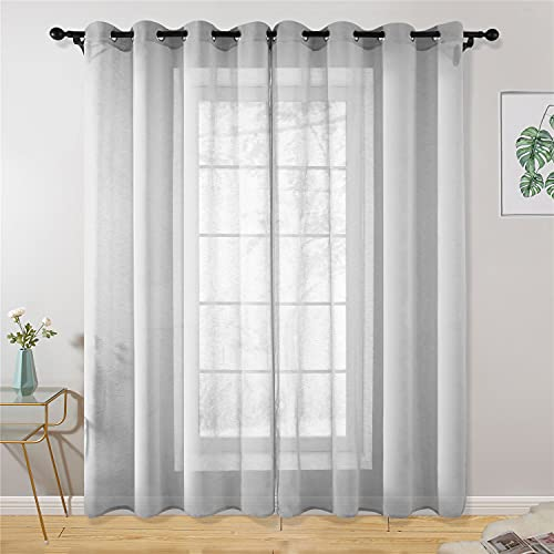 Gray Sheer Curtains 84 Inch Curtains 2 Panel Set Grommet Grommet Drape Semi Transparent Light Filtering Window Curtains for Kitchen Farmhouse Living Room Curtain Liners