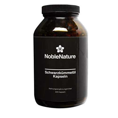 Schwarzkümmelöl Kapseln – hochdosiert 2000 mg pro Tagesdosis – 420 Kapseln im Braunglas – ägyptisch, natürlich, kaltgepresst mit Vitamin E – Premium Qualität hergestellt in Deutschland