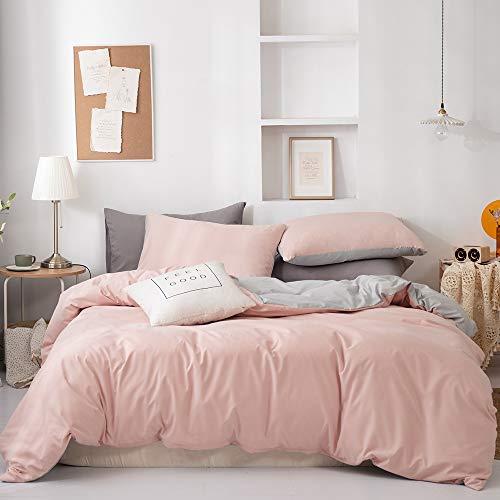 GETIYA Ropa de cama monocromo 135 x 200 Ropa de cama niña suave microfibra reversible ropa de cama para mujer con cremallera y 1 funda de almohada de 80 x 80 cm