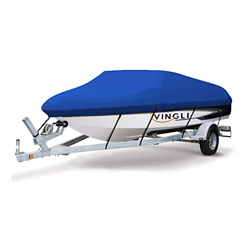 VINGLI Boat Cover Heavy Duty 600D Polyester Waterproof UV Resistant Marine Grade, Durable and Tear Proof, Fits 17-19 feet V-Hull, Tri-Hull Fishing Ski Pro-Style Bass Boats - Blue