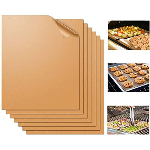 WIBIMEN Copper Grill Mat Set of 7-100% Non-Stick BBQ Grill Mats&Baking Mats, PFOA Free, Heavy Duty, Reusable and Easy to Clean, Works on Gas Charcoal and Electric BBQ (7 Pcs)