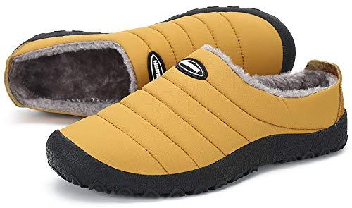 Zapatillas de Estar por Casa Mujer Hombre, Invierno Zapatos de Casa con Forro de Piel - Cálidas y Cómodas - con Suela Antideslizante para Exterior e Interior,Amarillo 37