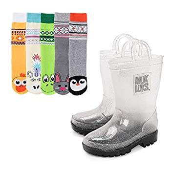 MUK LUKS Girl s Clear Molly Rainboots with 5-Pk Socks Rain Boot Animal M  9-10