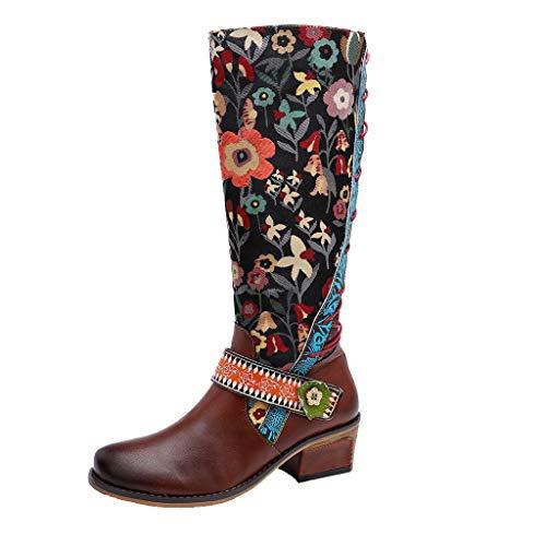 MINIKIMI Reitstiefel Damen Leder Hohe Stiefel Kniehohe Biker Boots Schnee Schuhe Bohemian Gestickt Vintage Bunte Druck Arbeits Zipper Lang Stiefel